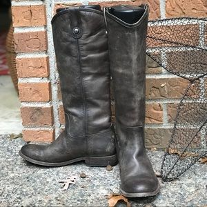 FRYE DISTRESSED BUTTON BOOTS MELISSA PULL ON 7.5
